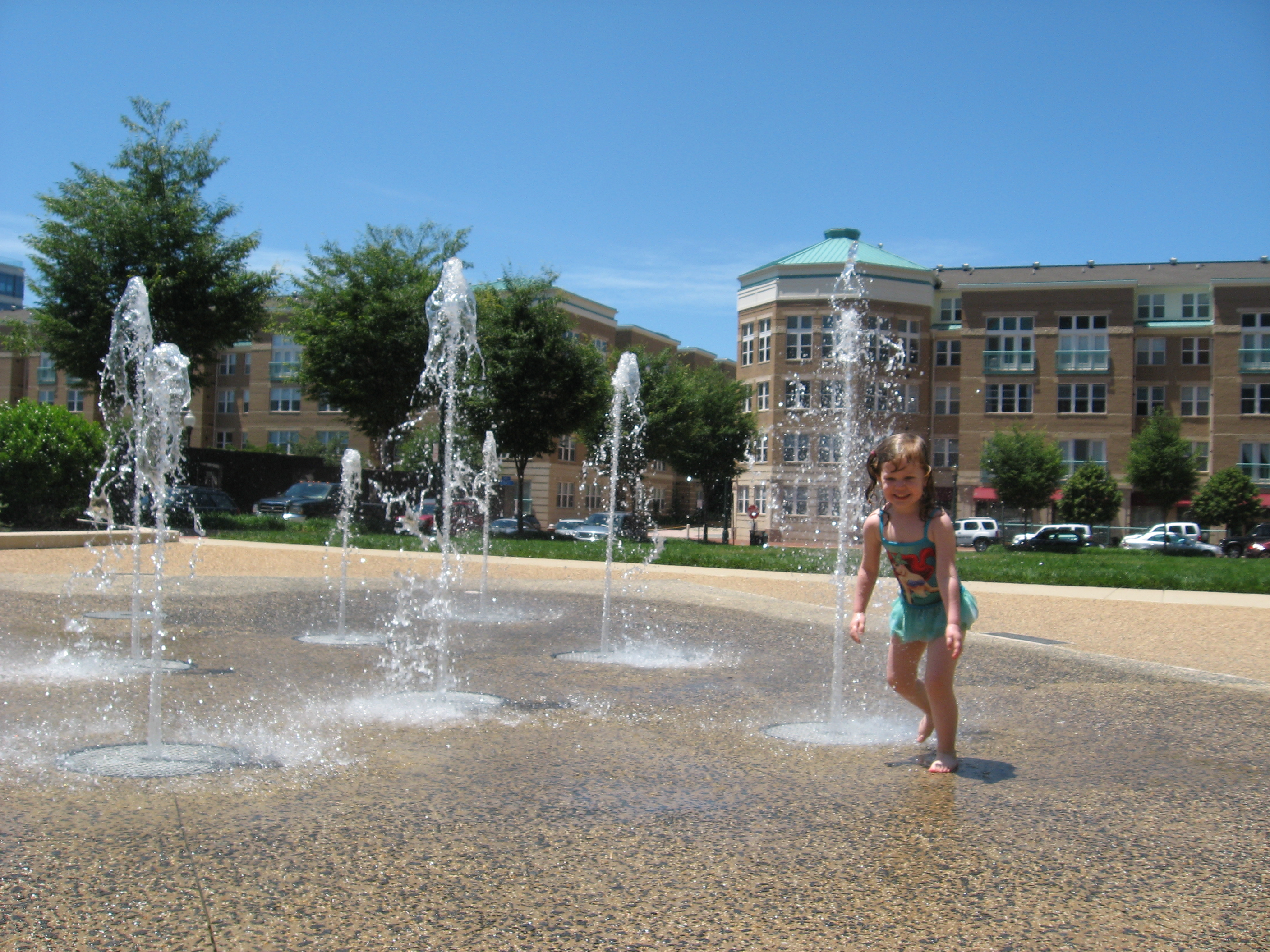 Amelia Plays in the Reston Fountains
